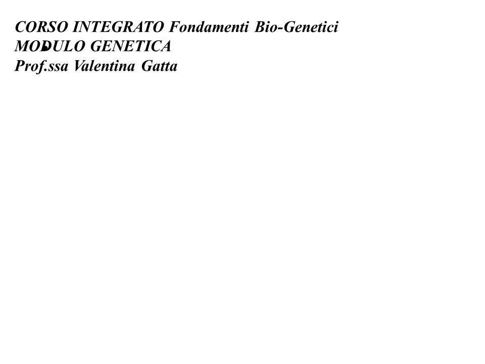 CORSO INTEGRATO Fondamenti Bio-Genetici MODULO GENETICA Prof.ssa Valentina Gatta