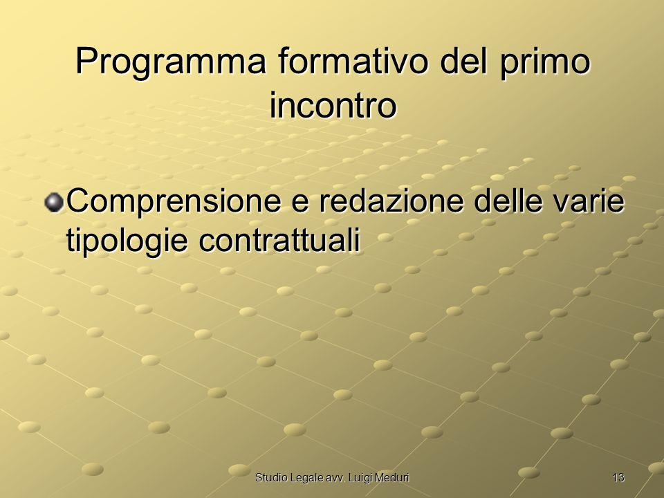 13Studio Legale avv. Luigi Meduri Programma formativo del primo incontro Comprensione e redazione delle varie tipologie contrattuali