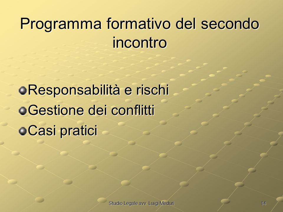 14Studio Legale avv. Luigi Meduri Programma formativo del secondo incontro Responsabilità e rischi Gestione dei conflitti Casi pratici