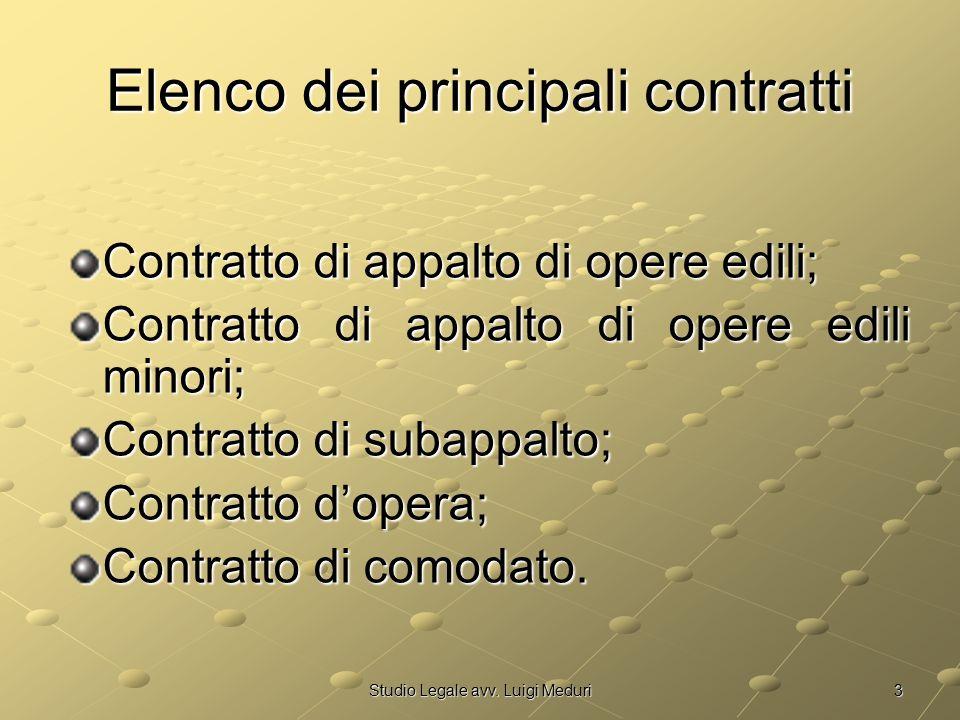 3Studio Legale avv. Luigi Meduri Elenco dei principali contratti Contratto di appalto di opere edili; Contratto di appalto di opere edili minori; Cont