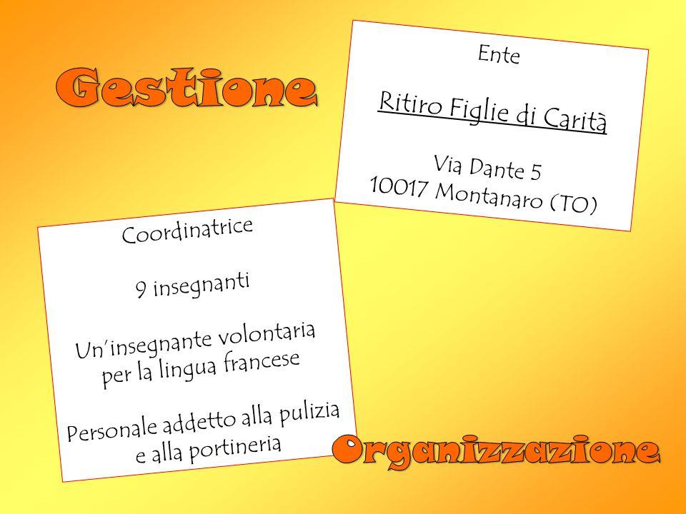 Ente Ritiro Figlie di Carità Via Dante 5 10017 Montanaro (TO) Coordinatrice 9 insegnanti Un'insegnante volontaria per la lingua francese Personale addetto alla pulizia e alla portineria