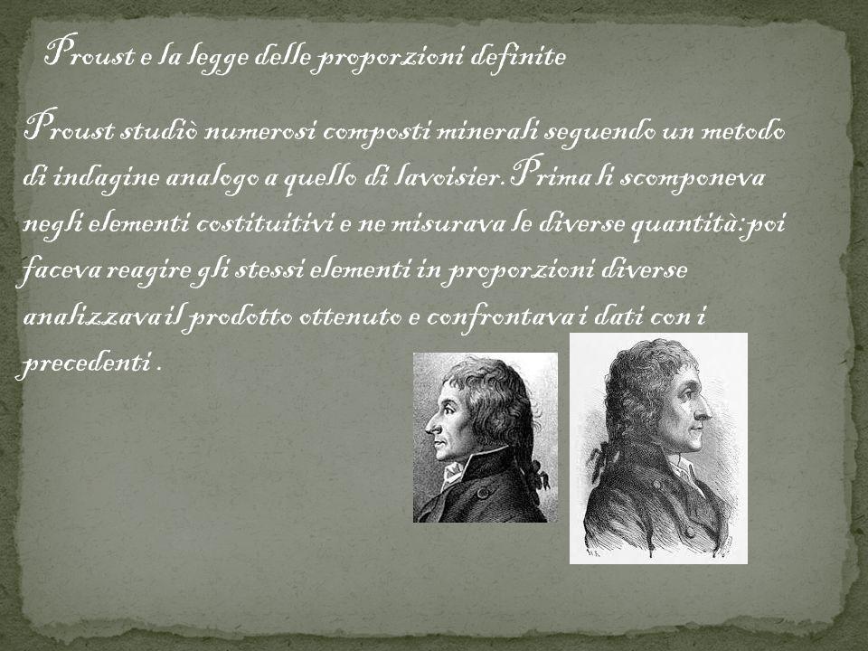 Proust e la legge delle proporzioni definite Proust studiò numerosi composti minerali seguendo un metodo di indagine analogo a quello di lavoisier.Pri