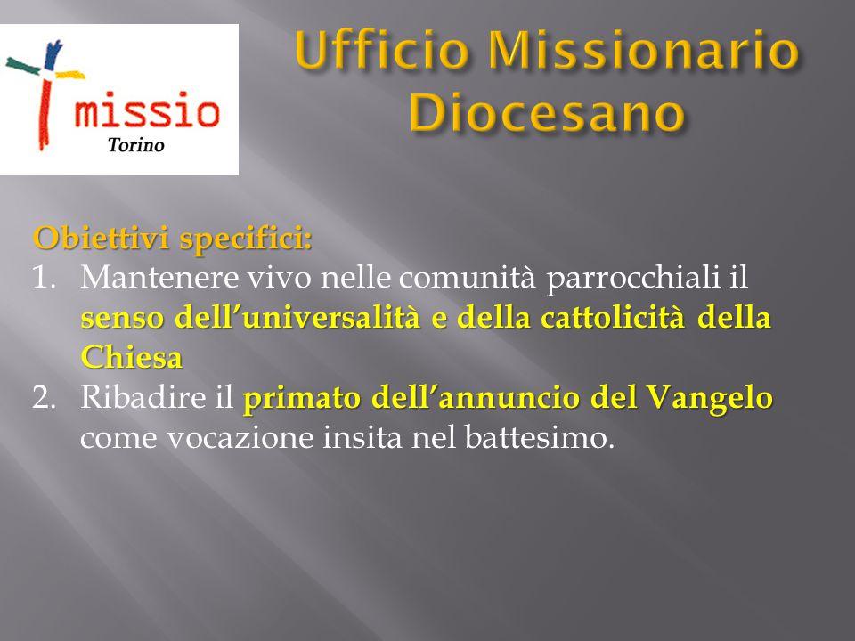 Obiettivi specifici: senso dell'universalità e della cattolicità della Chiesa 1.Mantenere vivo nelle comunità parrocchiali il senso dell'universalità