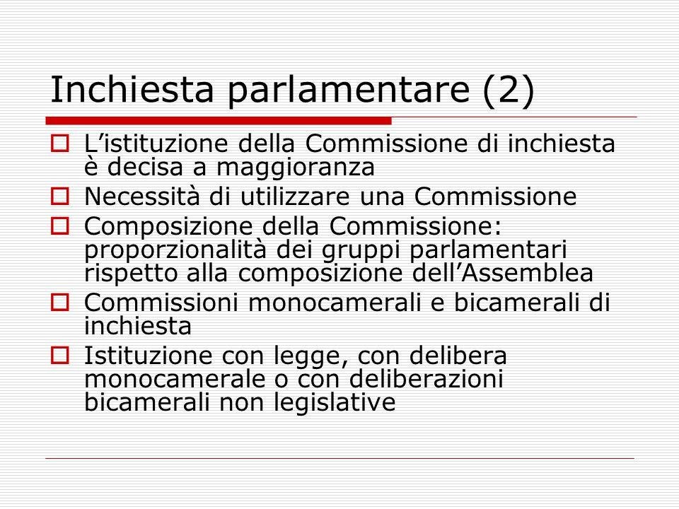 Inchiesta parlamentare (2)  L'istituzione della Commissione di inchiesta è decisa a maggioranza  Necessità di utilizzare una Commissione  Composizione della Commissione: proporzionalità dei gruppi parlamentari rispetto alla composizione dell'Assemblea  Commissioni monocamerali e bicamerali di inchiesta  Istituzione con legge, con delibera monocamerale o con deliberazioni bicamerali non legislative