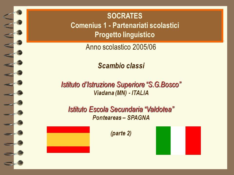 """CITTADINANZA EUROPEA ATTIVA Anno scolastico 2005/06 Scambio classi Istituto d'Istruzione Superiore """"S.G.Bosco"""" Viadana (MN) - ITALIA Istituto Escola S"""