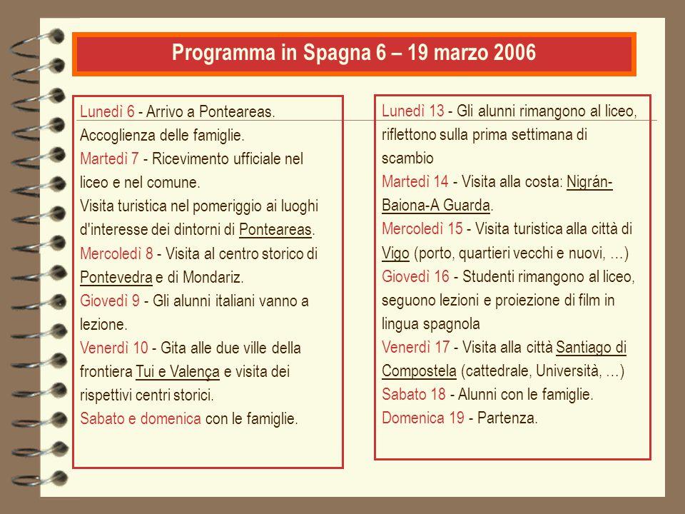 Programma in Spagna 6 – 19 marzo 2006 Lunedì 6 - Arrivo a Ponteareas. Accoglienza delle famiglie. Martedì 7 - Ricevimento ufficiale nel liceo e nel co