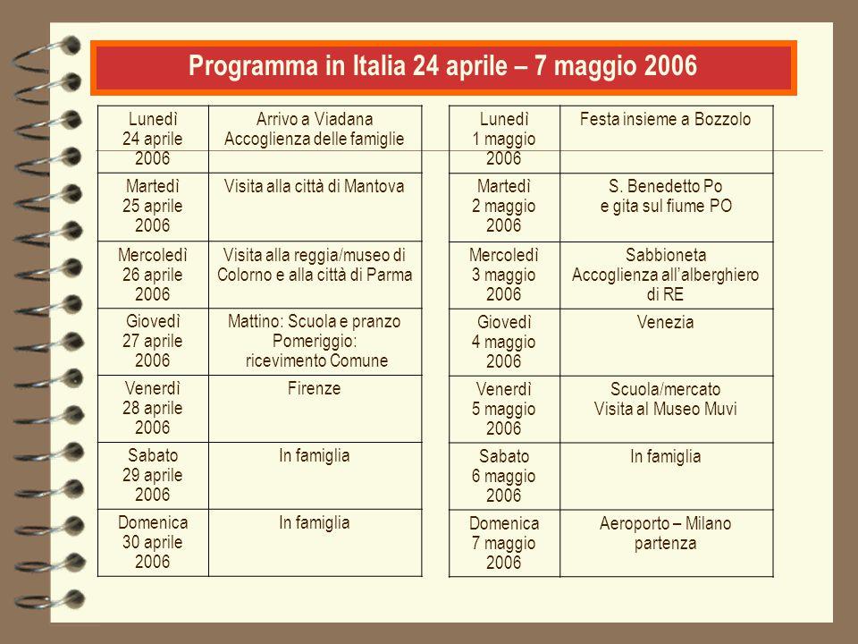 Programma in Italia 24 aprile – 7 maggio 2006 Lunedì 24 aprile 2006 Arrivo a Viadana Accoglienza delle famiglie Martedì 25 aprile 2006 Visita alla cit