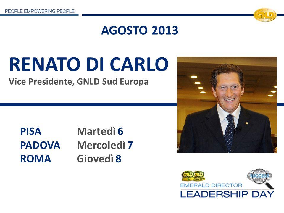 RENATO DI CARLO Vice Presidente, GNLD Sud Europa PISAMartedì 6 PADOVAMercoledì 7 ROMAGiovedì 8 AGOSTO 2013