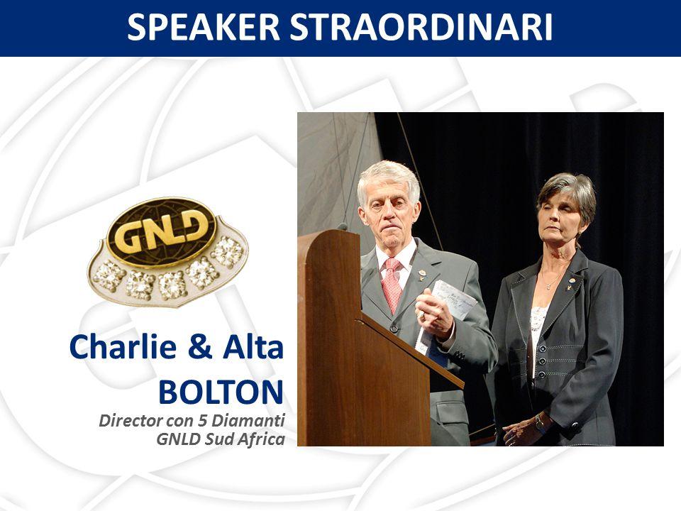 Charlie & Alta BOLTON Director con 5 Diamanti GNLD Sud Africa SPEAKER STRAORDINARI
