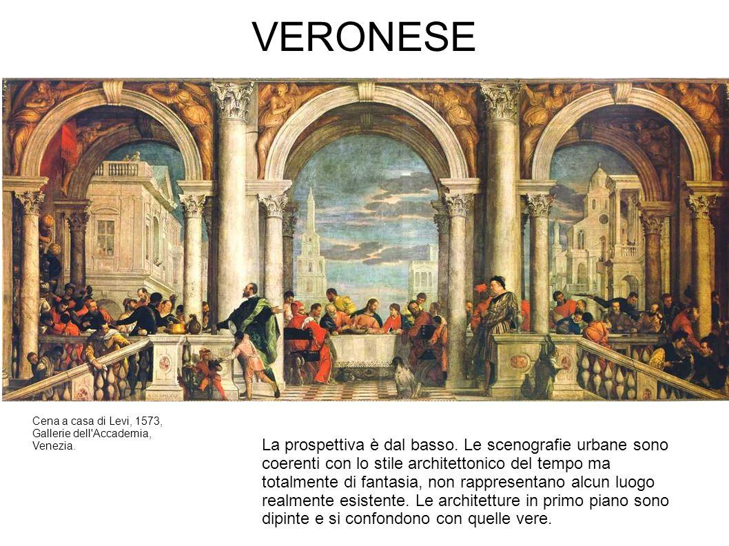 VERONESE Cena a casa di Levi, 1573, Gallerie dell'Accademia, Venezia. La prospettiva è dal basso. Le scenografie urbane sono coerenti con lo stile arc