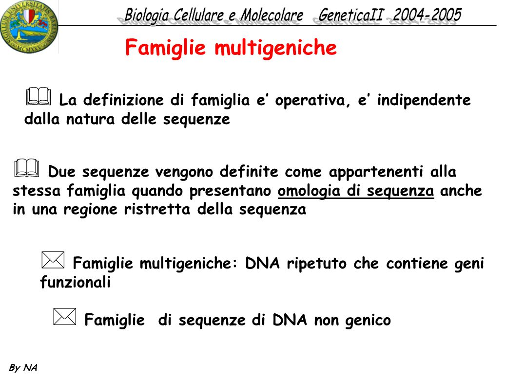 By NA  La definizione di famiglia e' operativa, e' indipendente dalla natura delle sequenze  Due sequenze vengono definite come appartenenti alla st