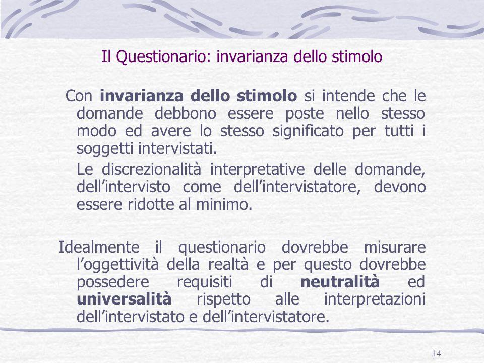 14 Il Questionario: invarianza dello stimolo Con invarianza dello stimolo si intende che le domande debbono essere poste nello stesso modo ed avere lo stesso significato per tutti i soggetti intervistati.