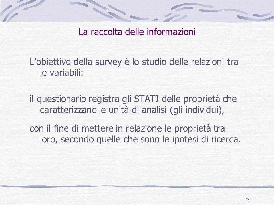 23 La raccolta delle informazioni L'obiettivo della survey è lo studio delle relazioni tra le variabili: il questionario registra gli STATI delle prop