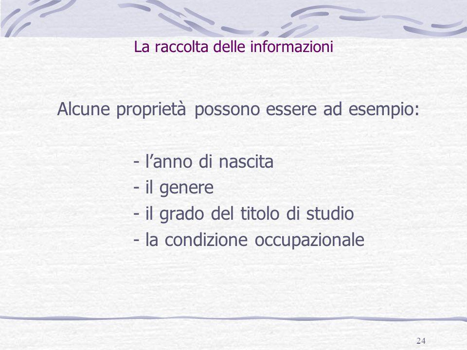 24 La raccolta delle informazioni Alcune proprietà possono essere ad esempio: - l'anno di nascita - il genere - il grado del titolo di studio - la condizione occupazionale