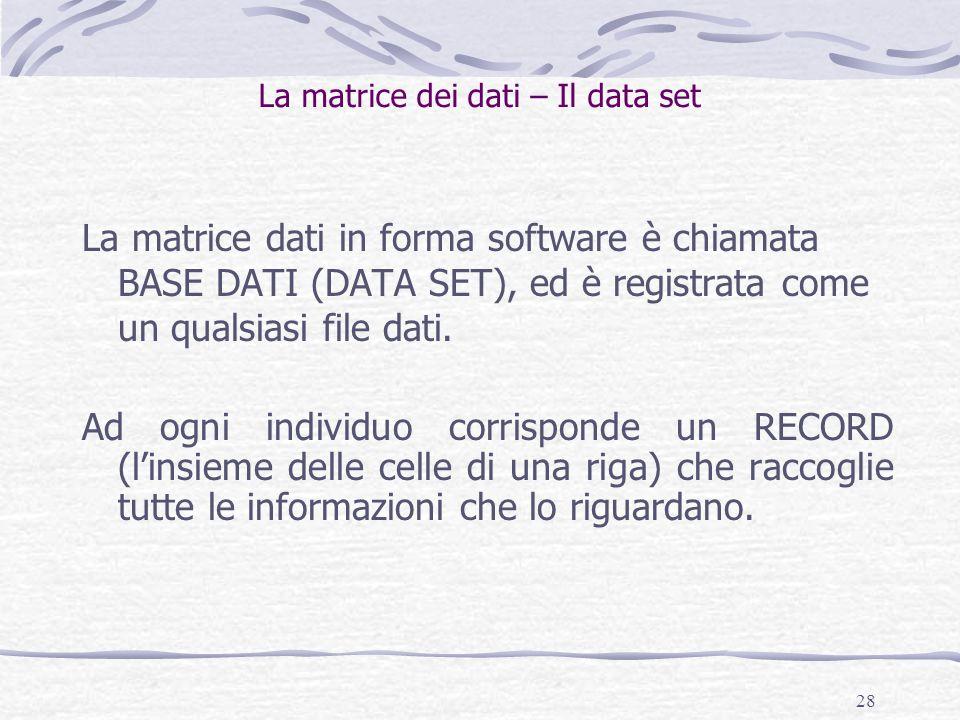 28 La matrice dei dati – Il data set La matrice dati in forma software è chiamata BASE DATI (DATA SET), ed è registrata come un qualsiasi file dati. A