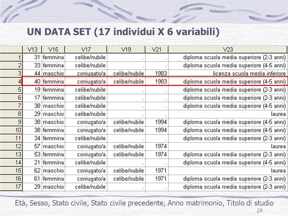 29 UN DATA SET (17 individui X 6 variabili) Età, Sesso, Stato civile, Stato civile precedente, Anno matrimonio, Titolo di studio