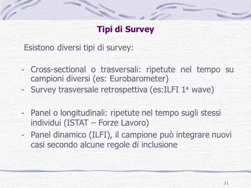 31 Tipi di Survey Esistono diversi tipi di survey: - Cross-sectional o trasversali: ripetute nel tempo su campioni diversi (es: Eurobarometer) - Survey trasversale retrospettiva (es:ILFI 1 a wave) - Panel o longitudinali: ripetute nel tempo sugli stessi individui (ISTAT – Forze Lavoro) - Panel dinamico (ILFI), il campione può integrare nuovi casi secondo alcune regole di inclusione