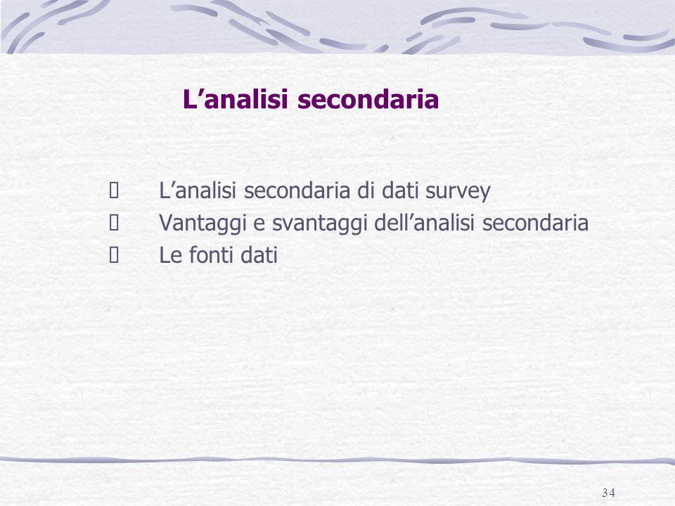 34 L'analisi secondaria  L'analisi secondaria di dati survey  Vantaggi e svantaggi dell'analisi secondaria  Le fonti dati