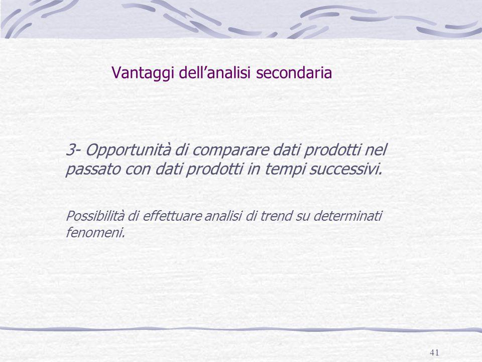 41 Vantaggi dell'analisi secondaria 3- Opportunità di comparare dati prodotti nel passato con dati prodotti in tempi successivi.