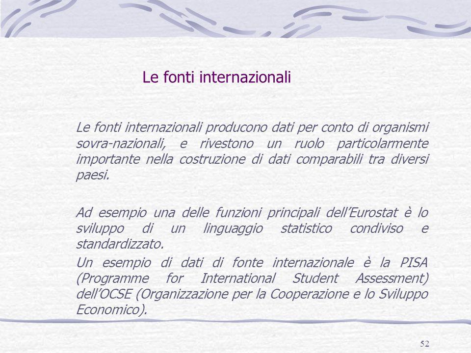 52 Le fonti internazionali Le fonti internazionali producono dati per conto di organismi sovra-nazionali, e rivestono un ruolo particolarmente importa