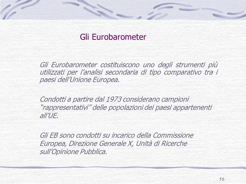 56 Gli Eurobarometer Gli Eurobarometer costituiscono uno degli strumenti più utilizzati per l'analisi secondaria di tipo comparativo tra i paesi dell'Unione Europea.