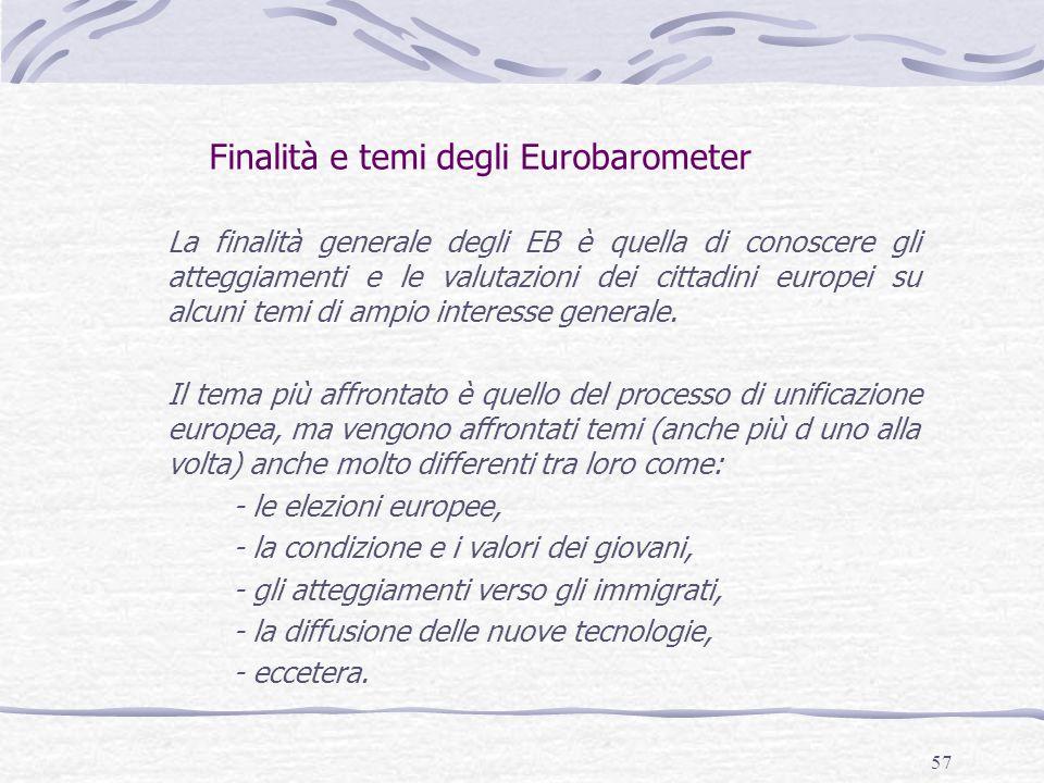 57 Finalità e temi degli Eurobarometer La finalità generale degli EB è quella di conoscere gli atteggiamenti e le valutazioni dei cittadini europei su alcuni temi di ampio interesse generale.