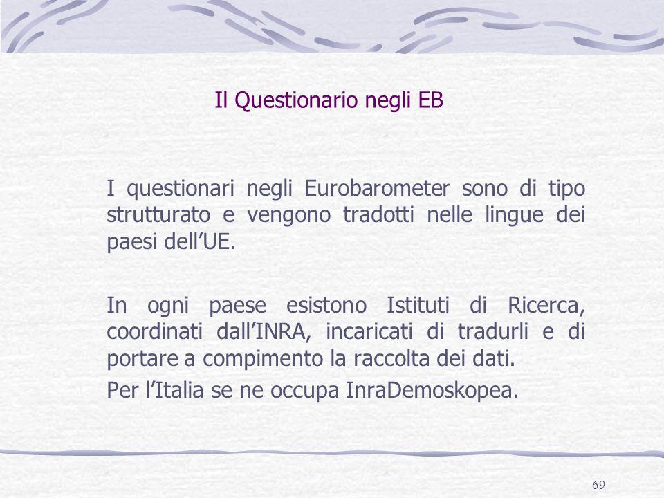 69 Il Questionario negli EB I questionari negli Eurobarometer sono di tipo strutturato e vengono tradotti nelle lingue dei paesi dell'UE. In ogni paes