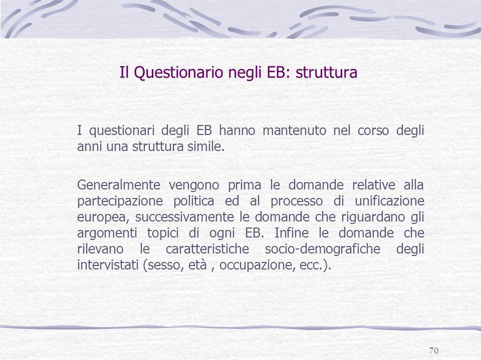 70 Il Questionario negli EB: struttura I questionari degli EB hanno mantenuto nel corso degli anni una struttura simile. Generalmente vengono prima le