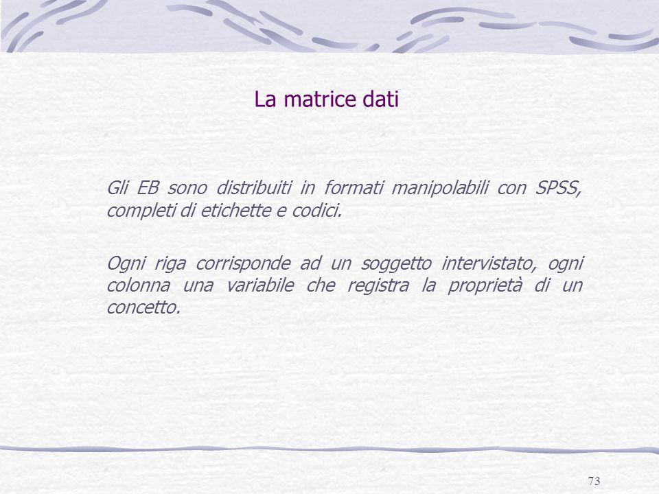 73 La matrice dati Gli EB sono distribuiti in formati manipolabili con SPSS, completi di etichette e codici.