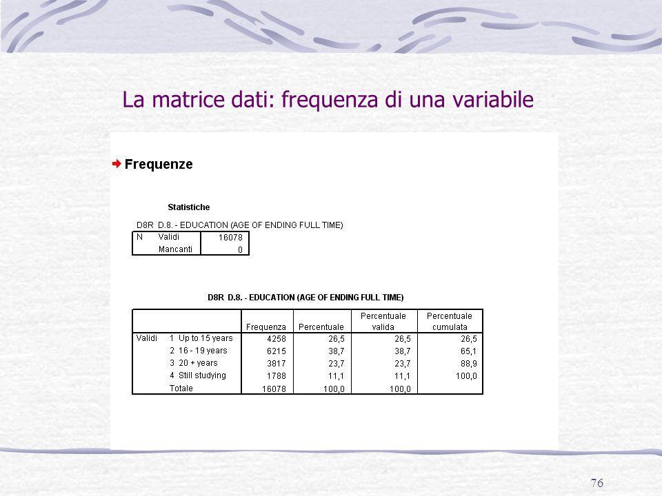 76 La matrice dati: frequenza di una variabile