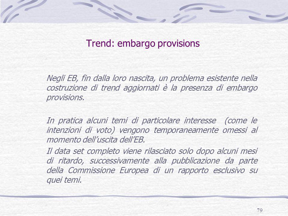 79 Trend: embargo provisions Negli EB, fin dalla loro nascita, un problema esistente nella costruzione di trend aggiornati è la presenza di embargo provisions.