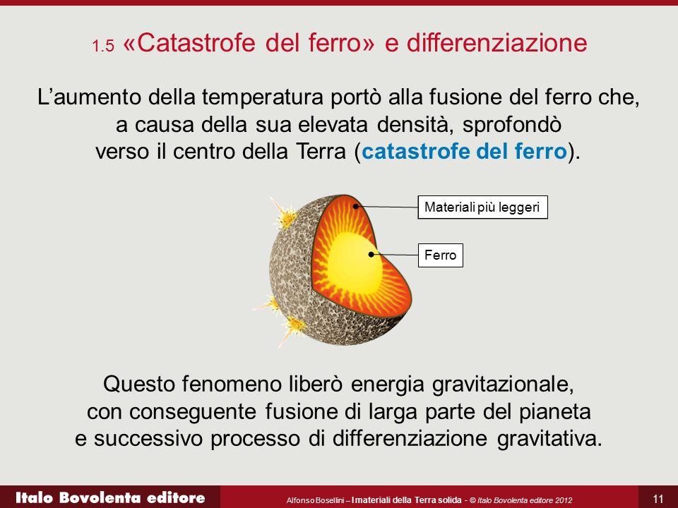 Alfonso Bosellini – I materiali della Terra solida - © Italo Bovolenta editore 2012 11 L'aumento della temperatura portò alla fusione del ferro che, a