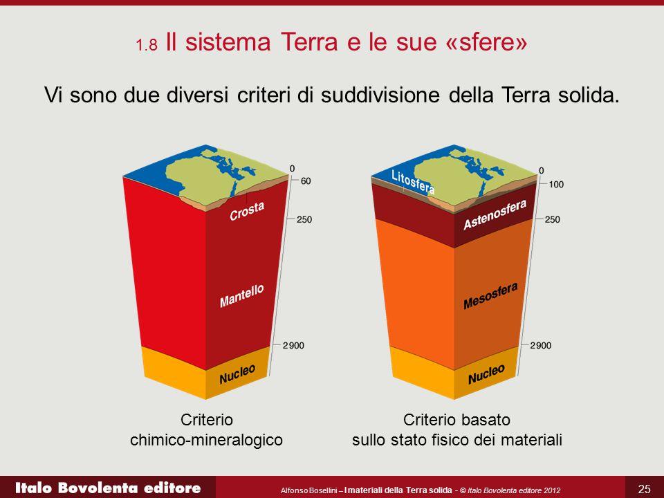 Alfonso Bosellini – I materiali della Terra solida - © Italo Bovolenta editore 2012 25 Vi sono due diversi criteri di suddivisione della Terra solida.