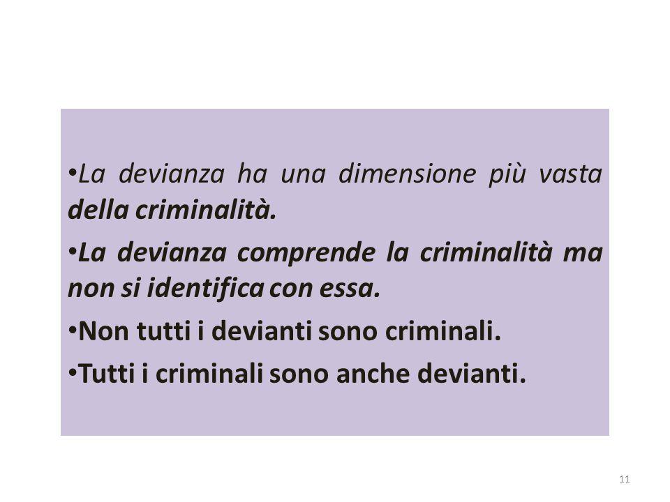 La devianza ha una dimensione più vasta della criminalità.
