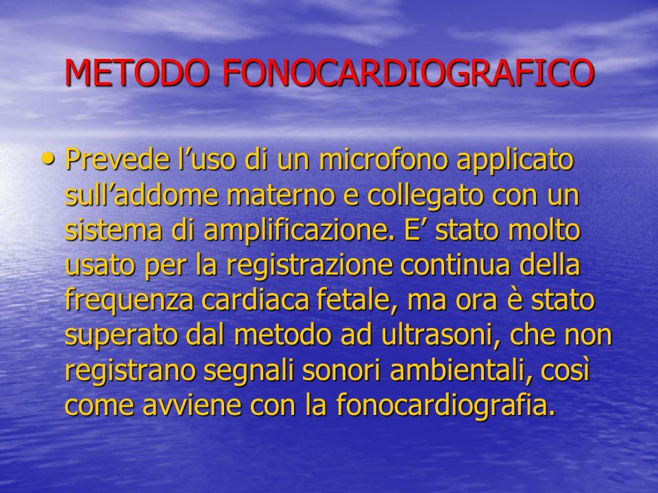 METODO FONOCARDIOGRAFICO Prevede l'uso di un microfono applicato sull'addome materno e collegato con un sistema di amplificazione. E' stato molto usat