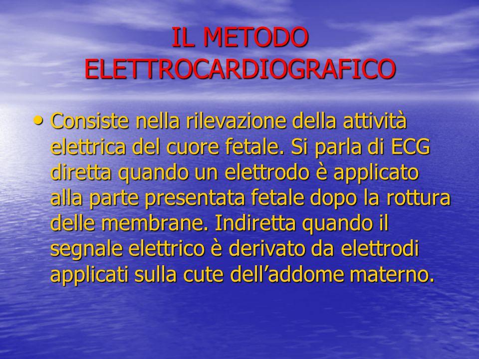 IL METODO ELETTROCARDIOGRAFICO Consiste nella rilevazione della attività elettrica del cuore fetale. Si parla di ECG diretta quando un elettrodo è app