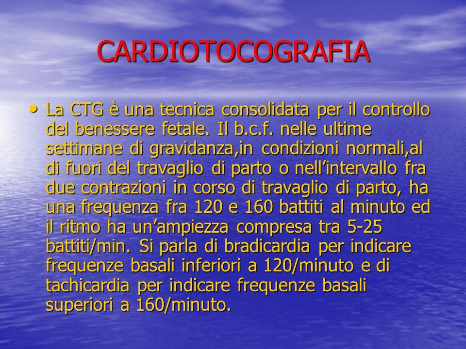 CARDIOTOCOGRAFIA La CTG è una tecnica consolidata per il controllo del benessere fetale. Il b.c.f. nelle ultime settimane di gravidanza,in condizioni