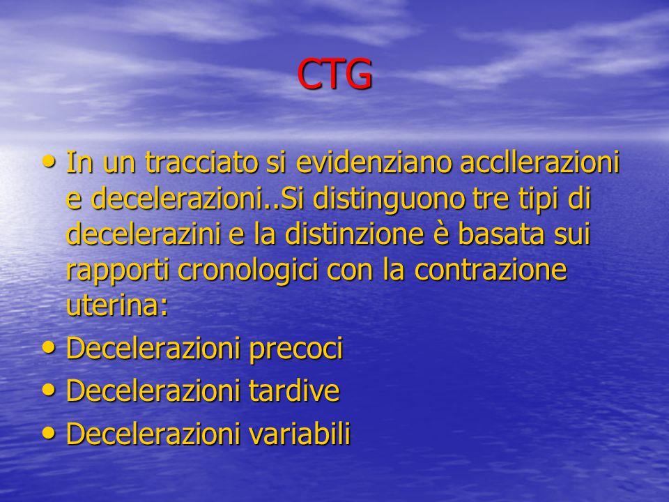 CTG In un tracciato si evidenziano accllerazioni e decelerazioni..Si distinguono tre tipi di decelerazini e la distinzione è basata sui rapporti crono