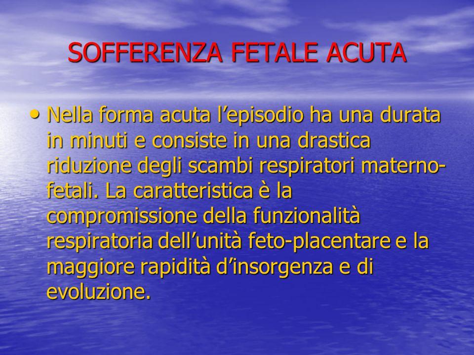 SOFFERENZA FETALE ACUTA Nella forma acuta l'episodio ha una durata in minuti e consiste in una drastica riduzione degli scambi respiratori materno- fe