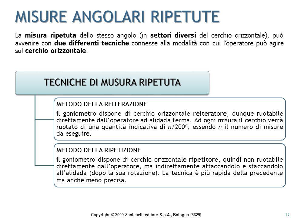 Copyright © 2009 Zanichelli editore S.p.A., Bologna [6629] MISURE ANGOLARI RIPETUTE 12 La misura ripetuta dello stesso angolo (in settori diversi del