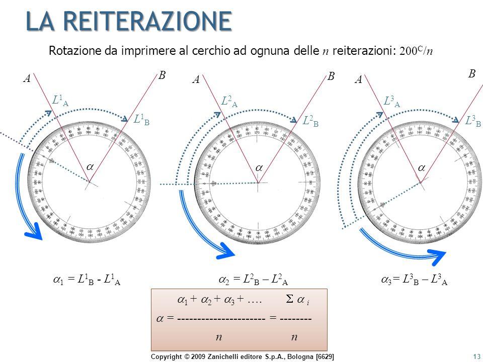 Copyright © 2009 Zanichelli editore S.p.A., Bologna [6629] LA REITERAZIONE 13 A B  L1AL1A L1BL1B  1 = L 1 B - L 1 A  1 +  2 +  3 + ….   i  = -