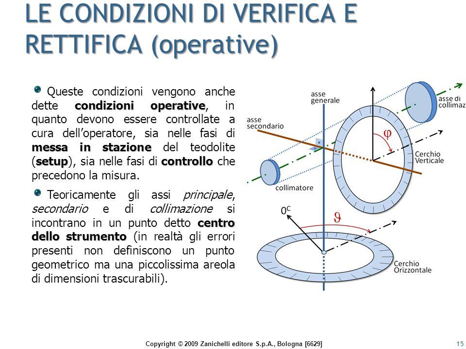 Copyright © 2009 Zanichelli editore S.p.A., Bologna [6629] LE CONDIZIONI DI VERIFICA E RETTIFICA (operative) 15 condizioni operative messa in stazione