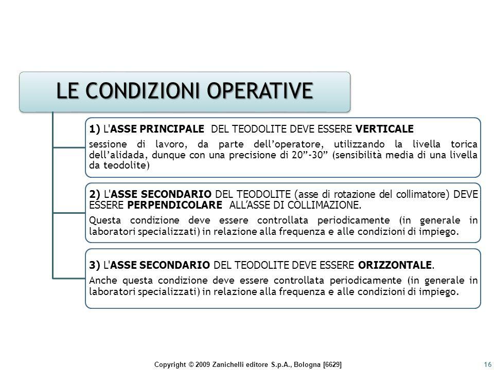 Copyright © 2009 Zanichelli editore S.p.A., Bologna [6629]16 LE CONDIZIONI OPERATIVE 1) L'ASSE PRINCIPALE DEL TEODOLITE DEVE ESSERE VERTICALE sessione