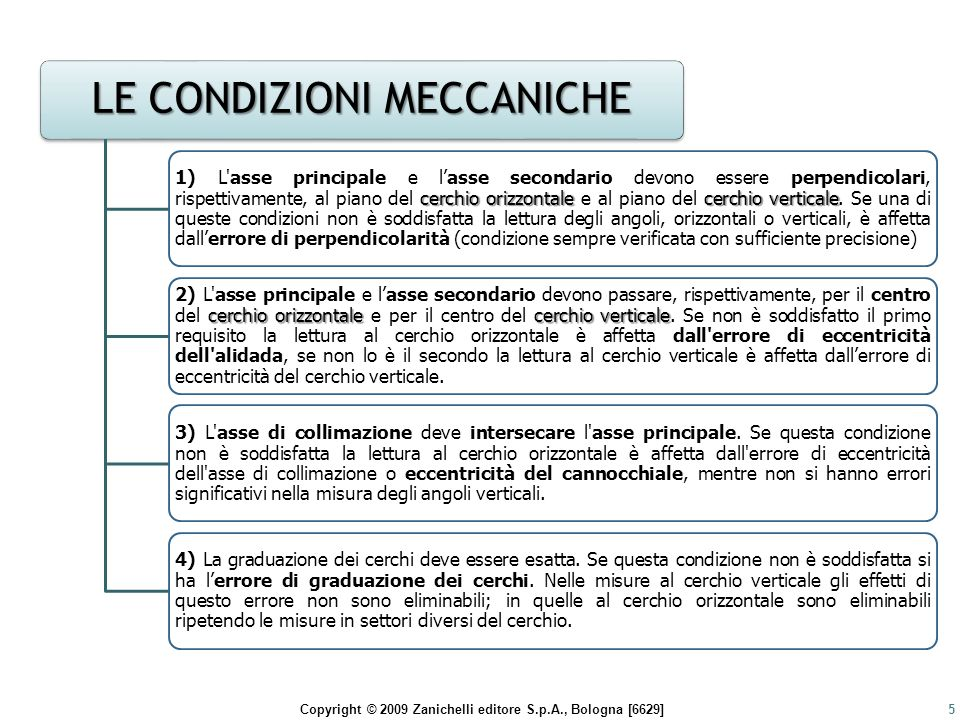Copyright © 2009 Zanichelli editore S.p.A., Bologna [6629]16 LE CONDIZIONI OPERATIVE 1) L ASSE PRINCIPALE DEL TEODOLITE DEVE ESSERE VERTICALE sessione di lavoro, da parte dell'operatore, utilizzando la livella torica dell'alidada, dunque con una precisione di 20 -30 (sensibilità media di una livella da teodolite) 2) L ASSE SECONDARIO DEL TEODOLITE (asse di rotazione del collimatore) DEVE ESSERE PERPENDICOLARE ALL'ASSE DI COLLIMAZIONE.