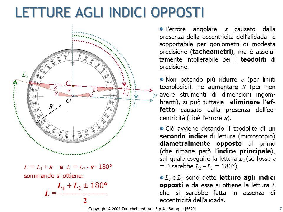 Copyright © 2009 Zanichelli editore S.p.A., Bologna [6629] LETTURE AGLI INDICI OPPOSTI 7 L'errore angolare  causato dalla presenza della eccentricità