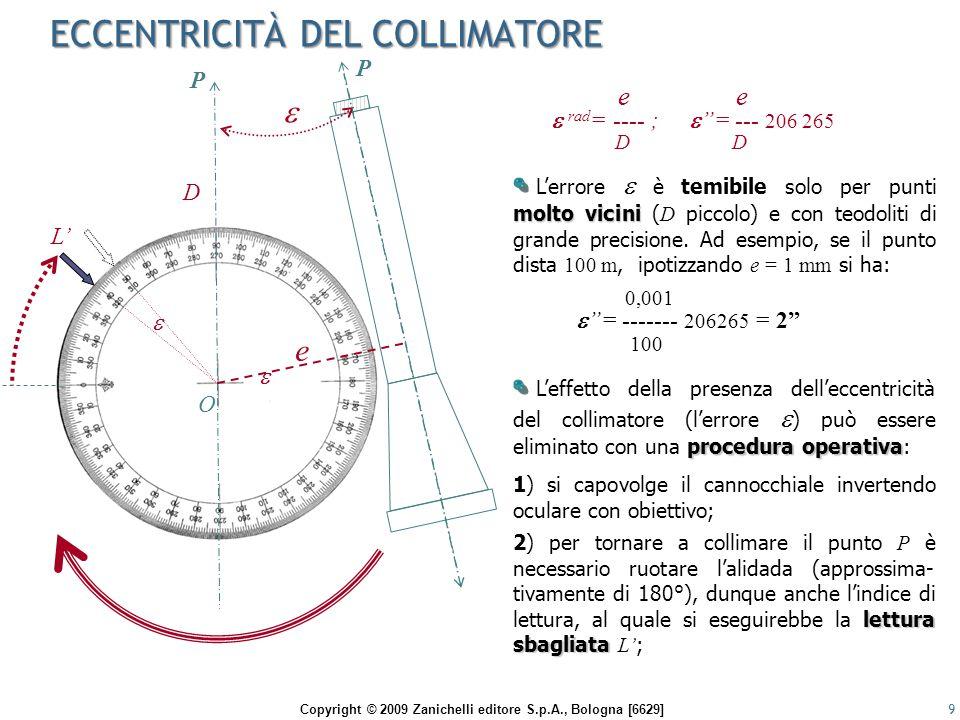 Copyright © 2009 Zanichelli editore S.p.A., Bologna [6629] LETTURE CONIUGATE 10 secondalettura 3) dopo aver collimato di nuovo il punto P, all'indice di lettura (trascinato dalla rotazione dell'alidada) si esegue una seconda lettura L al cerchio orizzontale.