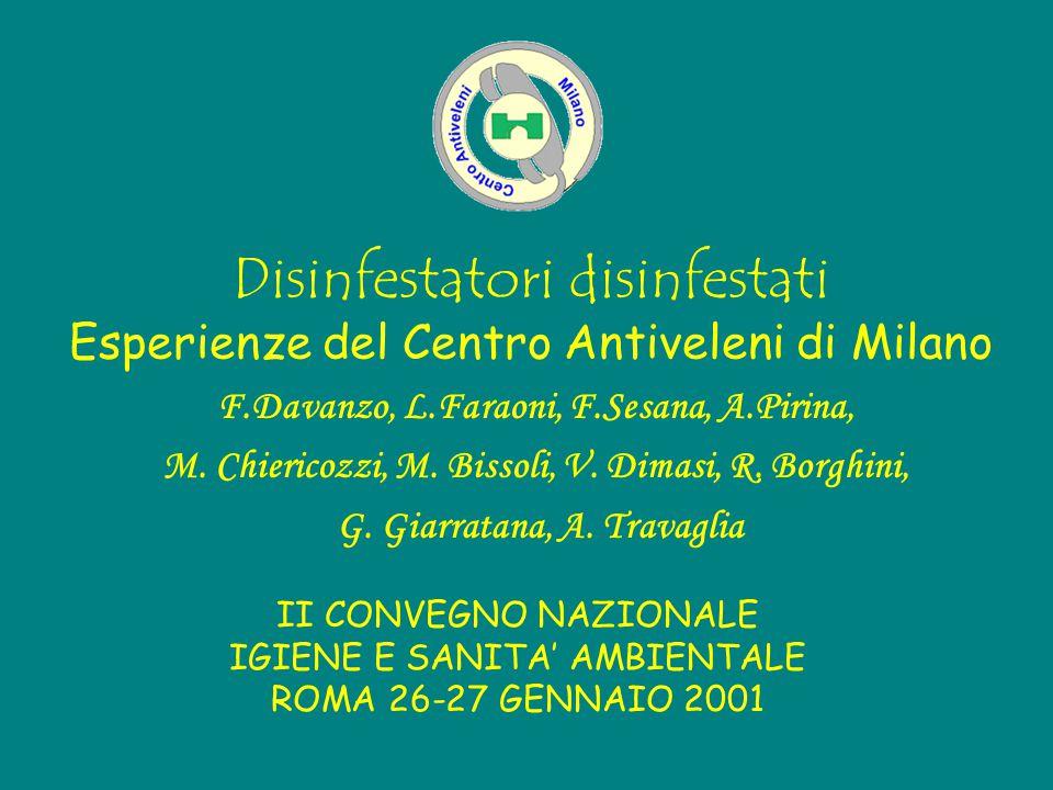 Disinfestatori disinfestati Esperienze del Centro Antiveleni di Milano F.Davanzo, L.Faraoni, F.Sesana, A.Pirina, M. Chiericozzi, M. Bissoli, V. Dimasi