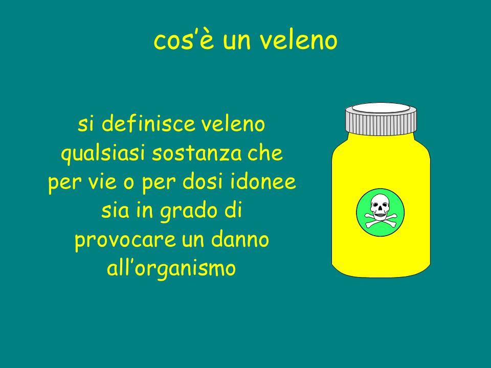 cos'è un veleno si definisce veleno qualsiasi sostanza che per vie o per dosi idonee sia in grado di provocare un danno all'organismo