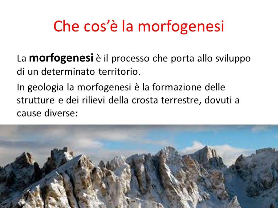 Che cos'è la morfogenesi La morfogenesi è il processo che porta allo sviluppo di un determinato territorio. In geologia la morfogenesi è la formazione