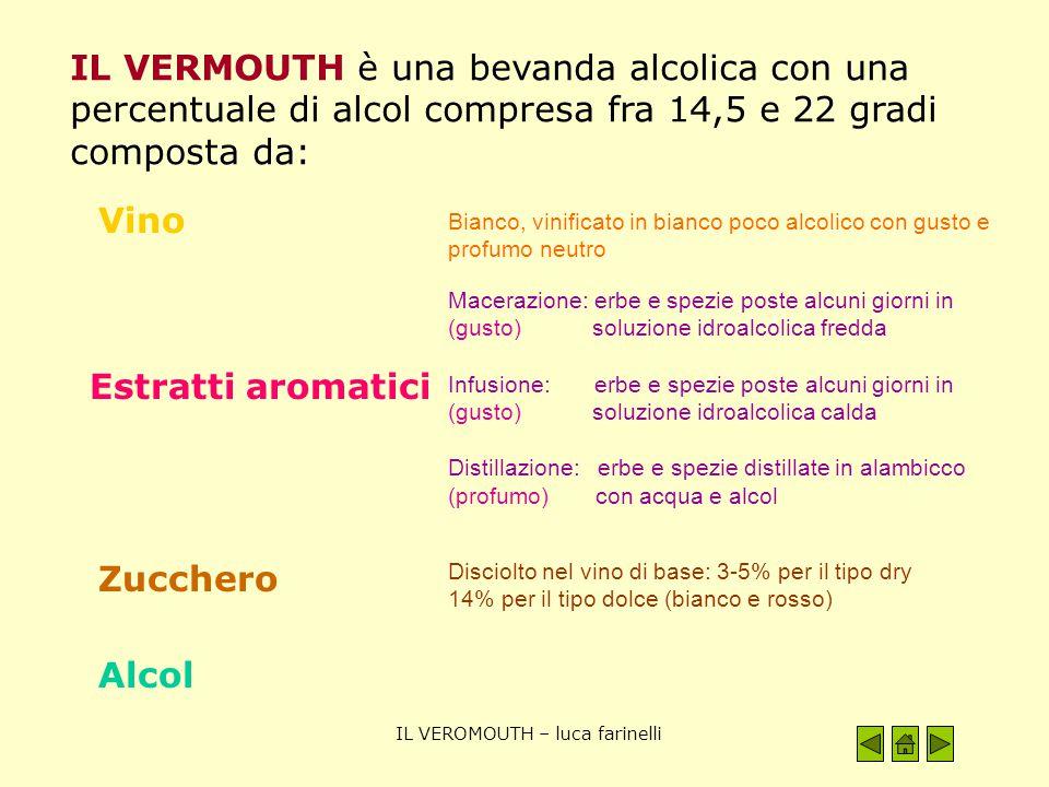 IL VEROMOUTH – luca farinelli IL VERMOUTH è una bevanda alcolica con una percentuale di alcol compresa fra 14,5 e 22 gradi composta da: Vino Estratti